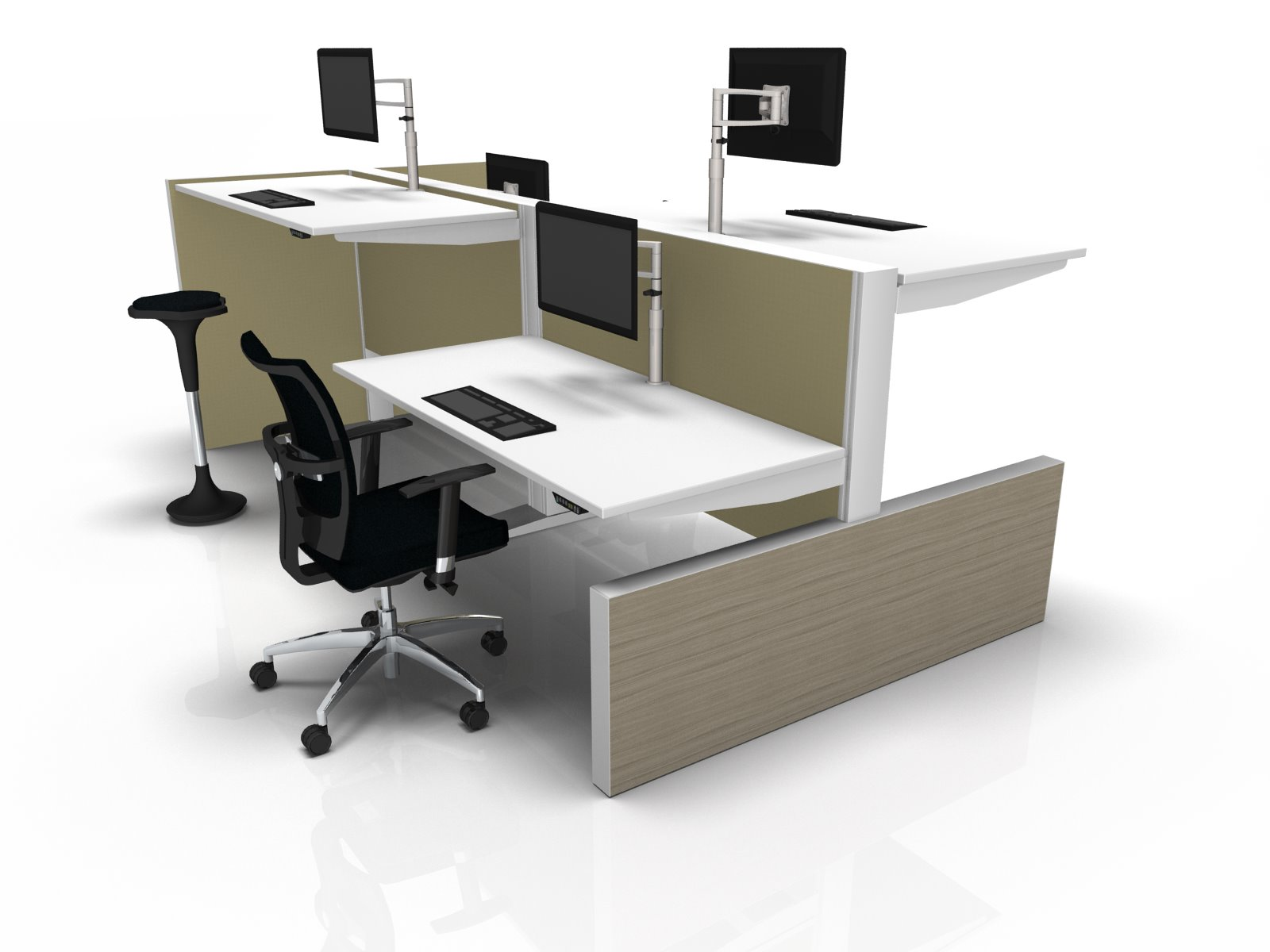 Sit2Stand werkplek met scheidingswand